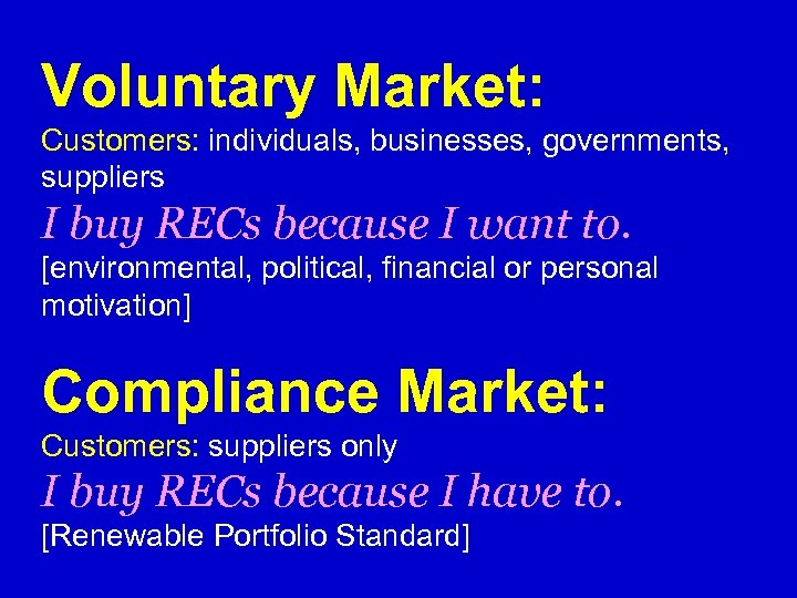 Voluntary Market: Customers: individuals, businesses, governments, suppliers I buy RECs because I want to.