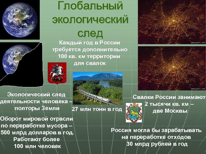 Глобальный экологический след Каждый год в России требуется дополнительно 100 кв. км территории для