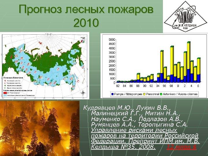 Прогноз лесных пожаров 2010 Кудрявцев М. Ю. , Лукин В. В. , Малинецкий Г.