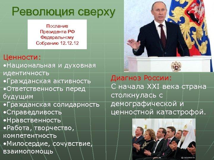 Революция сверху Послание Президента РФ Федеральному Собранию 12. 12 Ценности: • Национальная и духовная