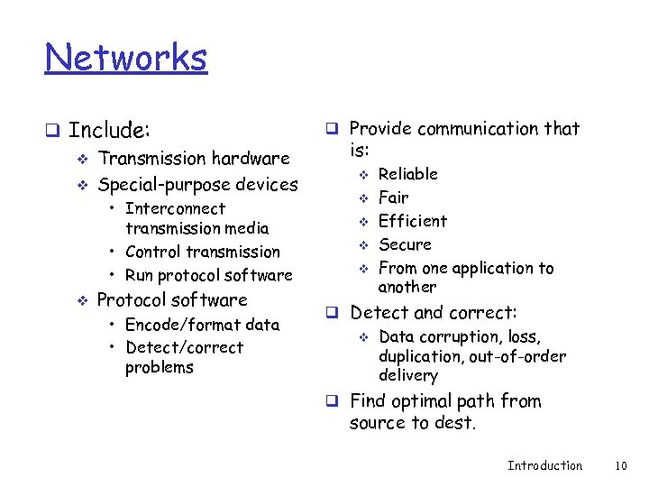 Networks q Include: v Transmission hardware v Special-purpose devices • Interconnect transmission media •