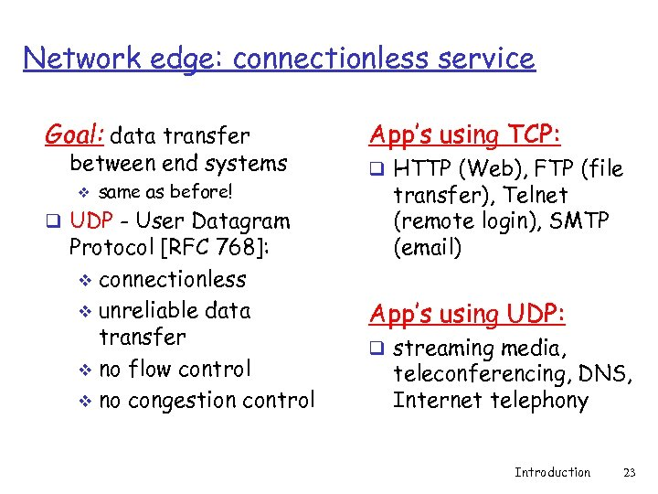 Network edge: connectionless service Goal: data transfer between end systems v same as before!