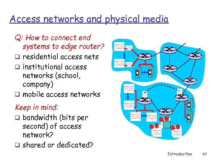 Access networks and physical media Q: How to connect end systems to edge router?