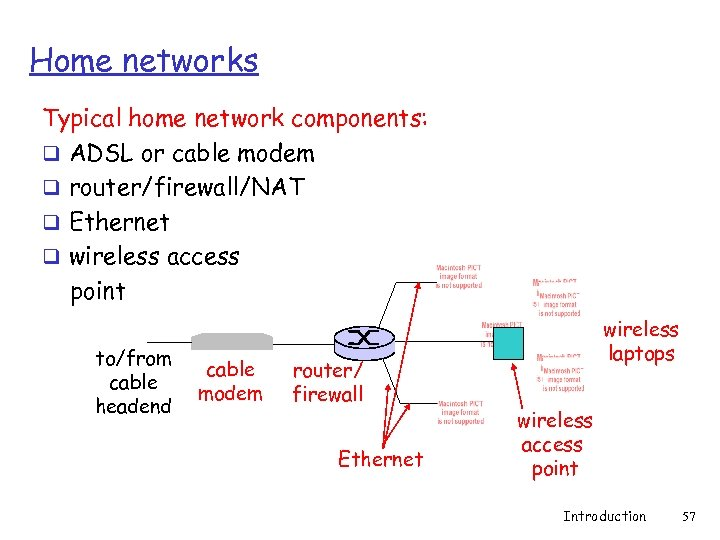 Home networks Typical home network components: q ADSL or cable modem q router/firewall/NAT q