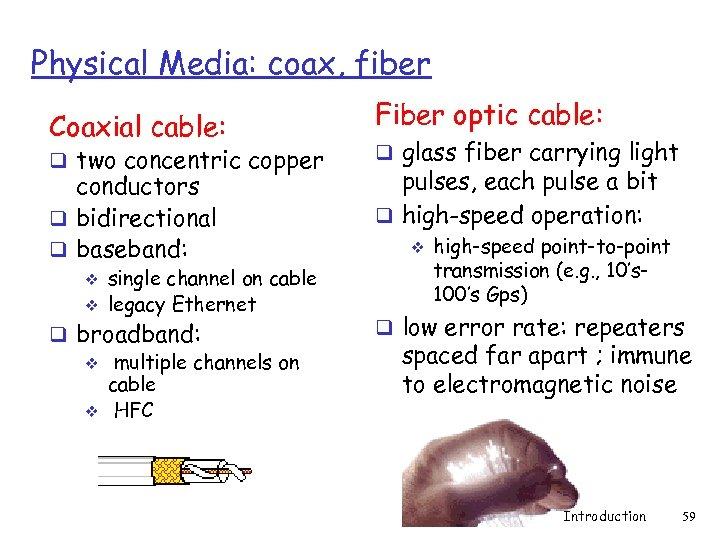 Physical Media: coax, fiber Coaxial cable: Fiber optic cable: conductors q bidirectional q baseband: