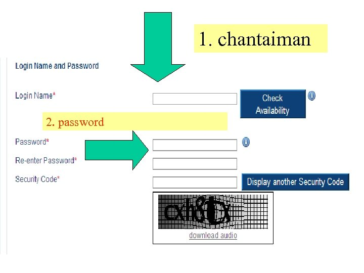 1. chantaiman 2. password