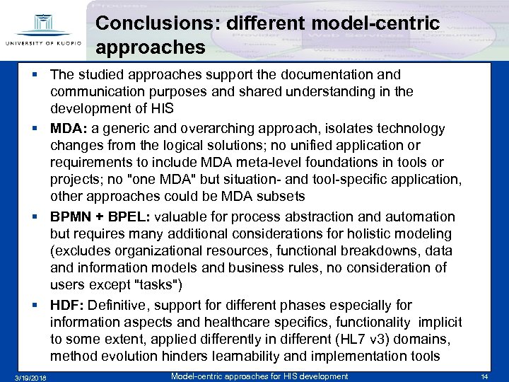 Conclusions: different model-centric approaches § The studied approaches support the documentation and communication purposes