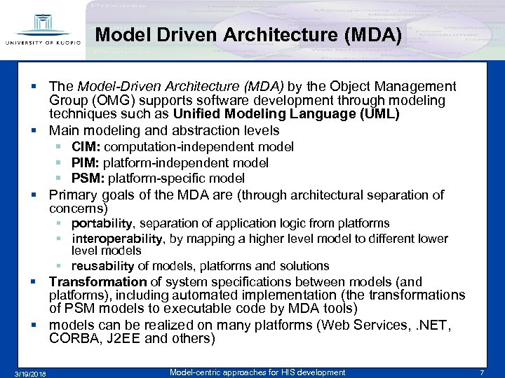 Model Driven Architecture (MDA) § The Model-Driven Architecture (MDA) by the Object Management Group