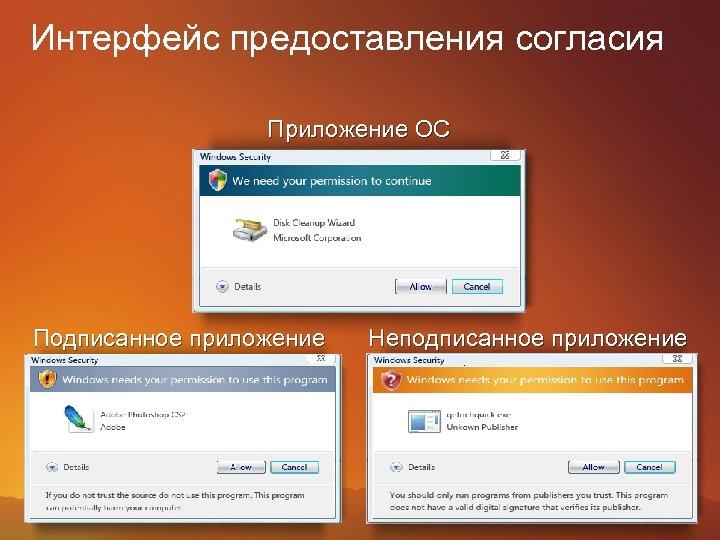 Интерфейс предоставления согласия Приложение ОС Подписанное приложение Неподписанное приложение
