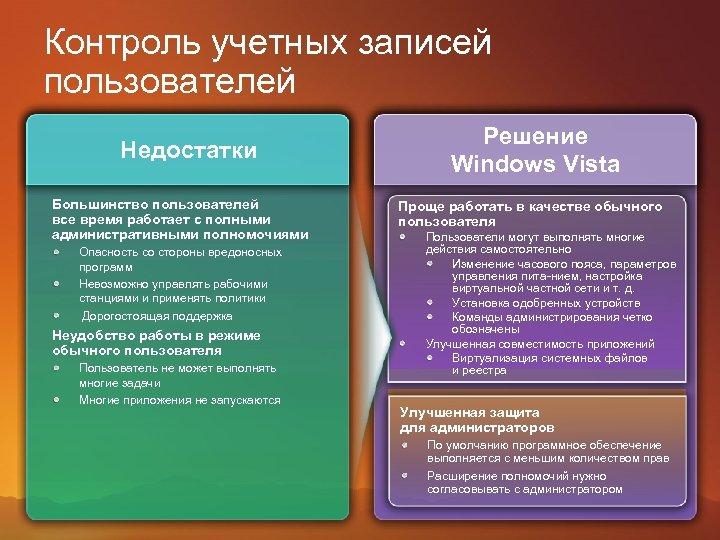 Контроль учетных записей пользователей Недостатки Большинство пользователей все время работает с полными административными полномочиями