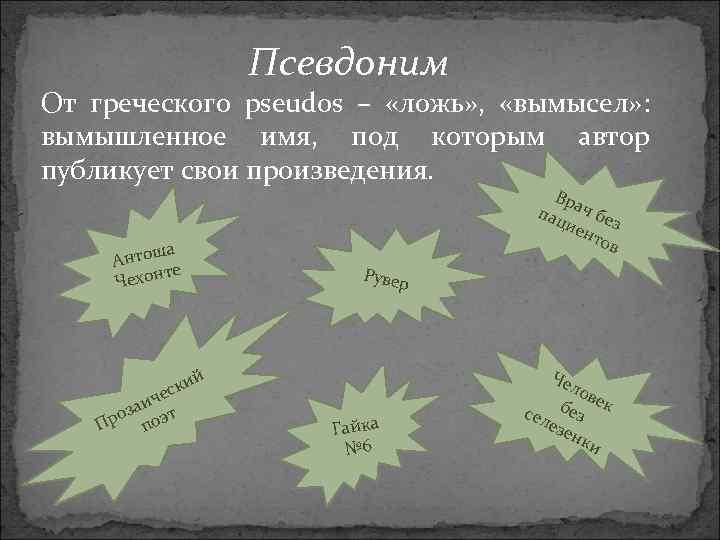 Псевдоним От греческого pseudos – «ложь» , «вымысел» : вымышленное имя, под которым автор