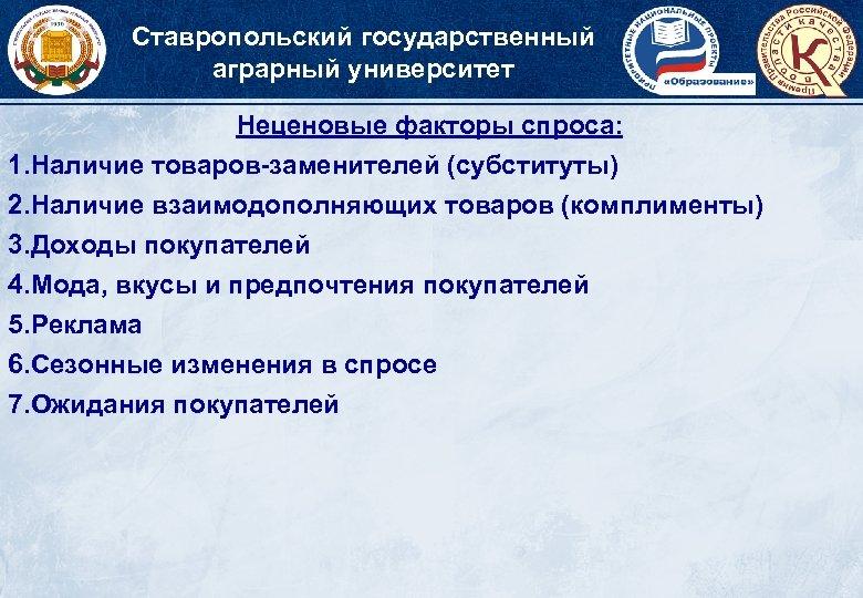 Ставропольский государственный аграрный университет Неценовые факторы спроса: 1. Наличие товаров-заменителей (субституты) 2. Наличие взаимодополняющих
