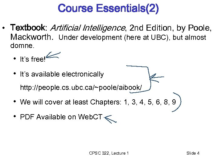 Course Essentials(2) • Textbook: Artificial Intelligence, 2 nd Edition, by Poole, Mackworth. Under development