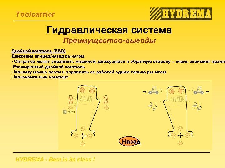 Toolcarrier Гидравлическая система Преимущество-выгоды Двойной контроль (ESD) Движения вперед/назад рычагом - Оператор может управлять