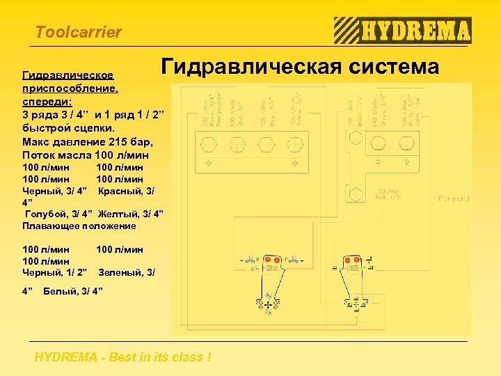 """Toolcarrier Гидравлическая система Гидравлическое приспособление, спереди: 3 ряда 3 / 4"""" и 1 ряд"""