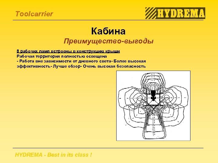Toolcarrier Кабина Преимущество-выгоды 8 рабочих ламп встроены в конструкцию крыши Рабочая территория полностью освещена