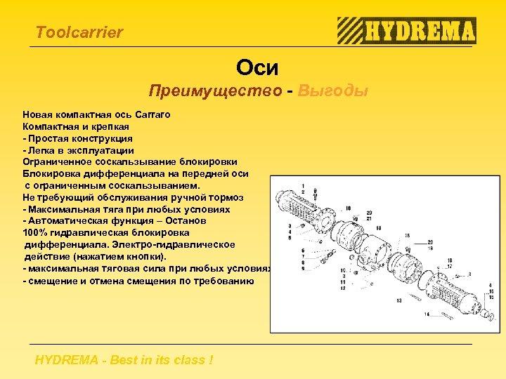 Toolcarrier Оси Преимущество - Выгоды Новая компактная ось Carraro Компактная и крепкая - Простая