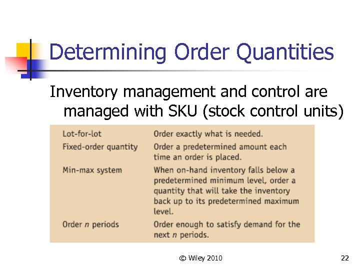 Determining Order Quantities Inventory management and control are managed with SKU (stock control units)