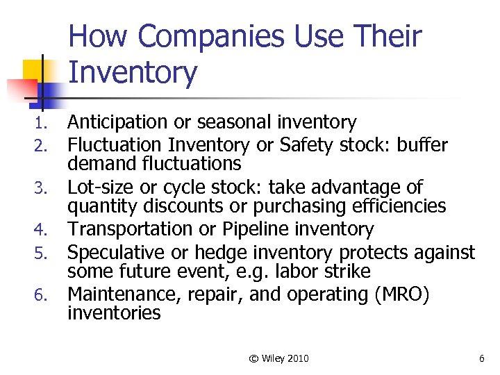 How Companies Use Their Inventory 1. 2. 3. 4. 5. 6. Anticipation or seasonal