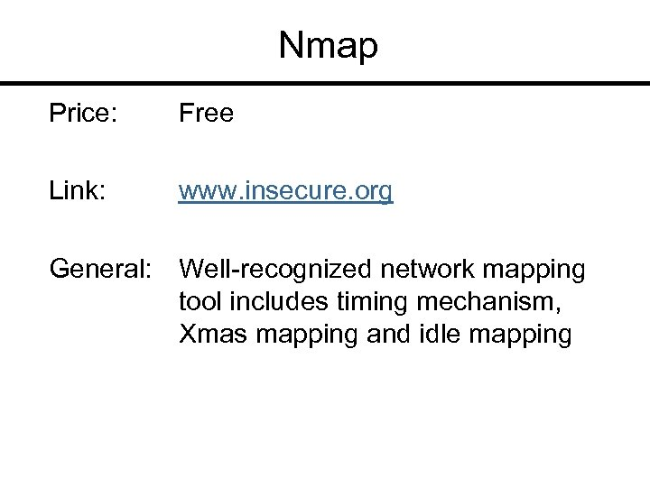 Nmap Price: Free Link: www. insecure. org General: Well-recognized network mapping tool includes timing