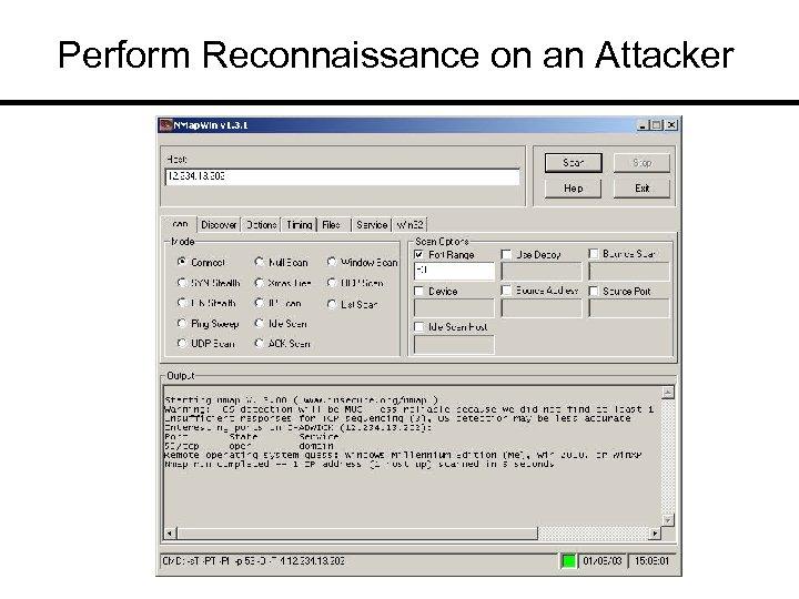 Perform Reconnaissance on an Attacker