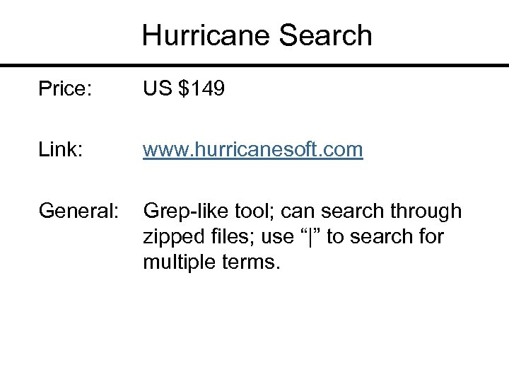 Hurricane Search Price: US $149 Link: www. hurricanesoft. com General: Grep-like tool; can search