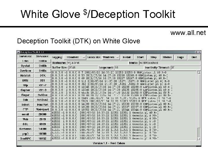 White Glove $/Deception Toolkit www. all. net Deception Toolkit (DTK) on White Glove