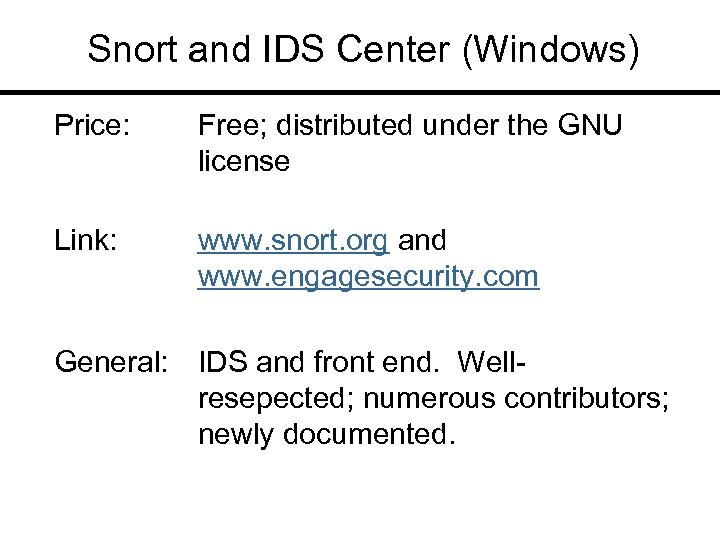Snort and IDS Center (Windows) Price: Free; distributed under the GNU license Link: www.