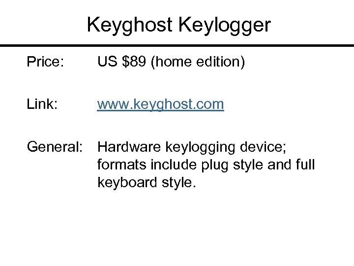 Keyghost Keylogger Price: US $89 (home edition) Link: www. keyghost. com General: Hardware keylogging