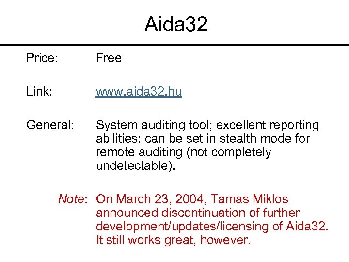 Aida 32 Price: Free Link: www. aida 32. hu General: System auditing tool; excellent