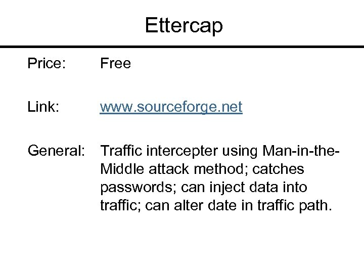 Ettercap Price: Free Link: www. sourceforge. net General: Traffic intercepter using Man-in-the. Middle attack