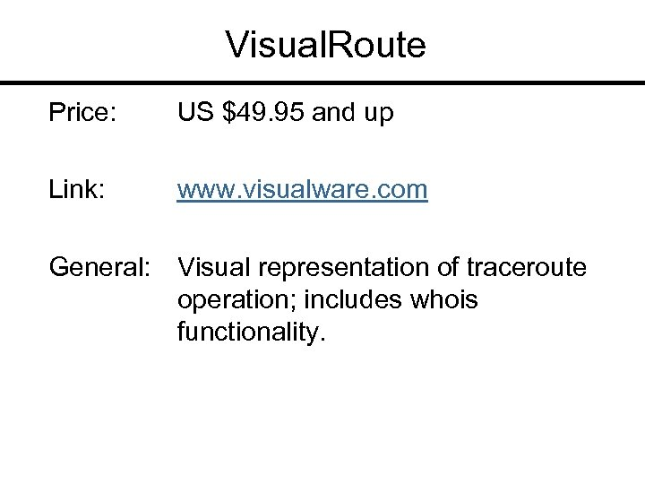 Visual. Route Price: US $49. 95 and up Link: www. visualware. com General: Visual
