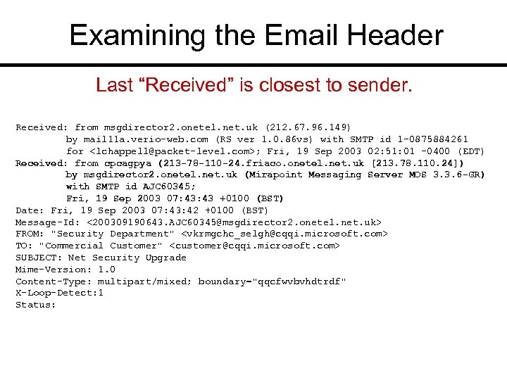 """Examining the Email Header Last """"Received"""" is closest to sender. Received: from msgdirector 2."""