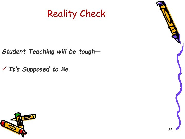 Reality Check Student Teaching will be tough— ü It's Supposed to Be 36