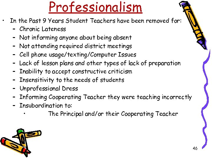 Professionalism • In the Past 9 Years Student Teachers have been removed for: –
