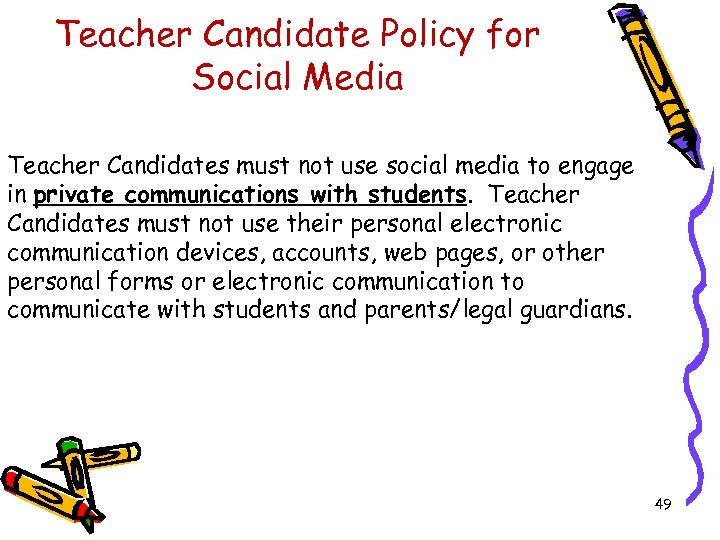 Teacher Candidate Policy for Social Media Teacher Candidates must not use social media to