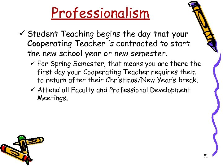 Professionalism ü Student Teaching begins the day that your Cooperating Teacher is contracted to