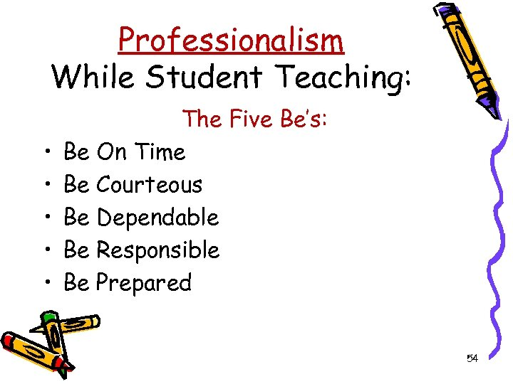 Professionalism While Student Teaching: • • • The Five Be's: Be On Time Be