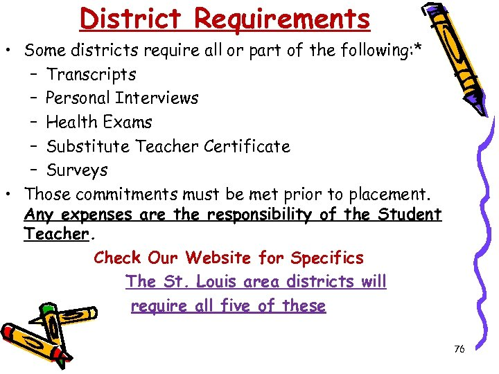 District Requirements • Some districts require all or part of the following: * –