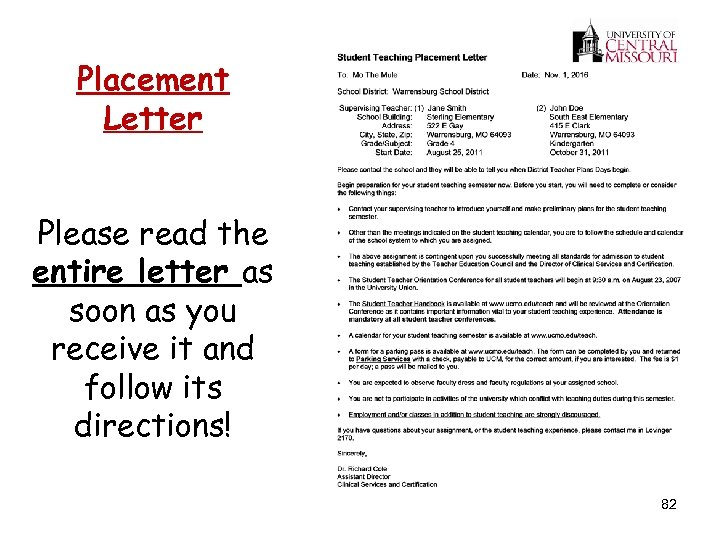 Placement Letter Please read the entire letter as soon as you receive it and