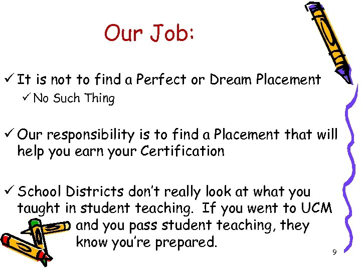 Our Job: ü It is not to find a Perfect or Dream Placement ü