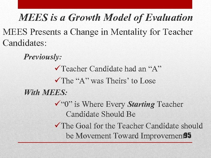MEES is a Growth Model of Evaluation MEES Presents a Change in Mentality for