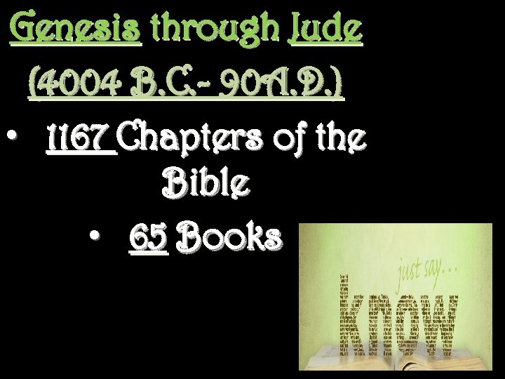 Genesis through Jude (4004 B. C. - 90 A. D. ) • 1167 Chapters