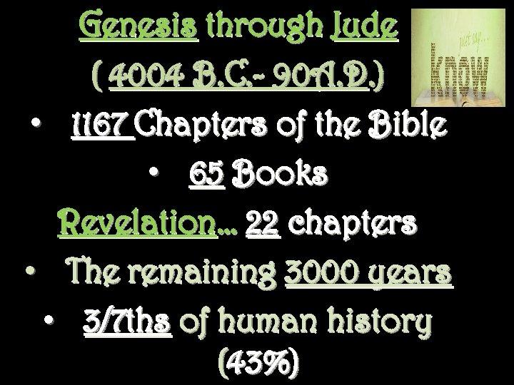 Genesis through Jude ( 4004 B. C. - 90 A. D. ) • 1167