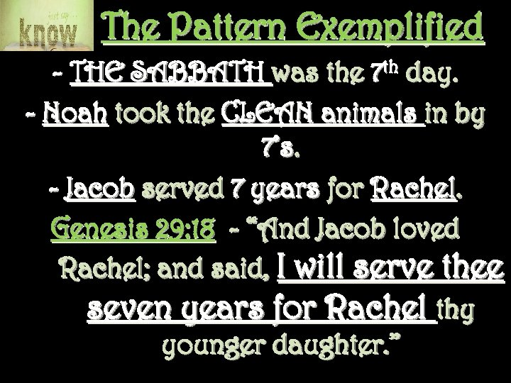 The Pattern Exemplified - THE SABBATH was the 7 th day. - Noah took
