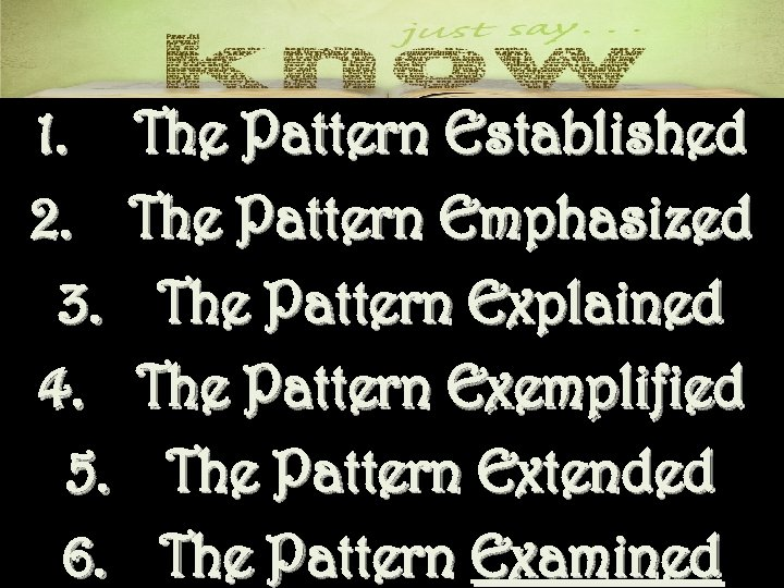 1. The Pattern Established 2. The Pattern Emphasized 3. The Pattern Explained 4. The