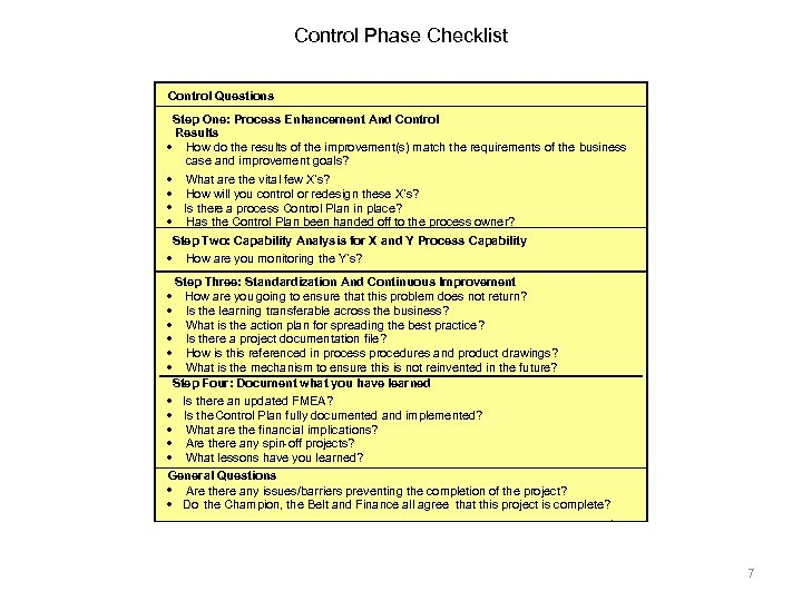 Control Phase Checklist Control Questions Step One: Process Enhancement And Control Results · How