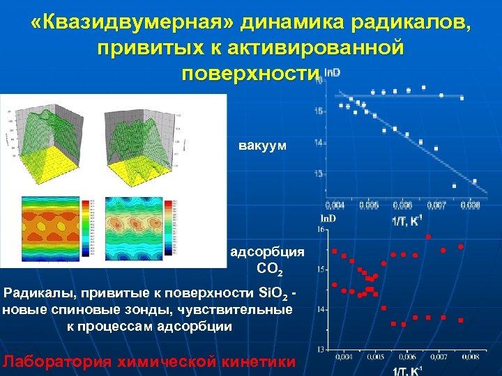 «Квазидвумерная» динамика радикалов, привитых к активированной поверхности вакуум адсорбция СО 2 Радикалы, привитые