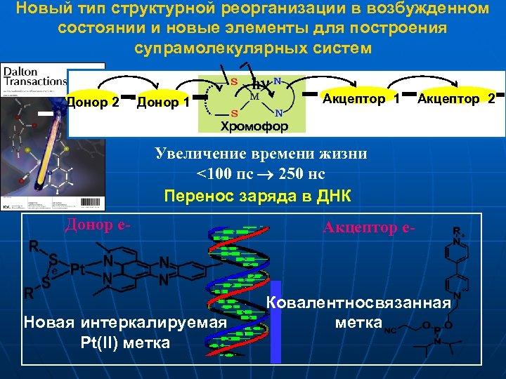 Новый тип структурной реорганизации в возбужденном состоянии и новые элементы для построения супрамолекулярных систем
