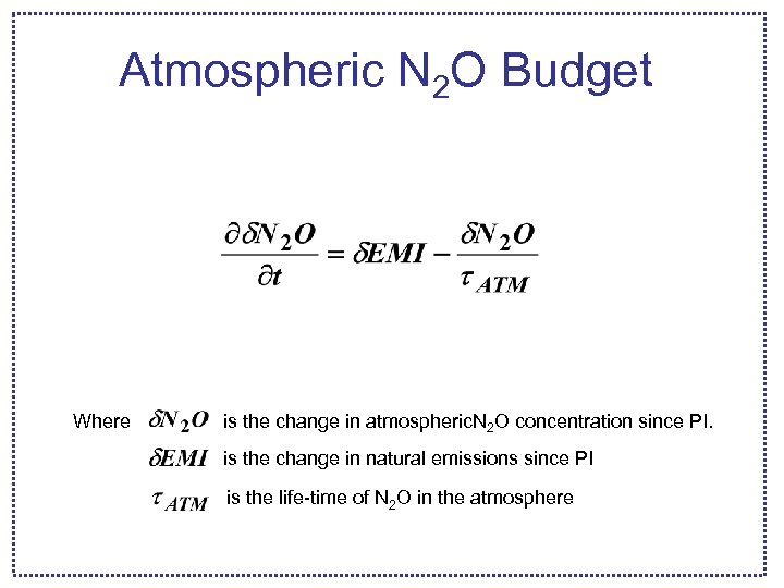 Atmospheric N 2 O Budget Where is the change in atmospheric. N 2 O